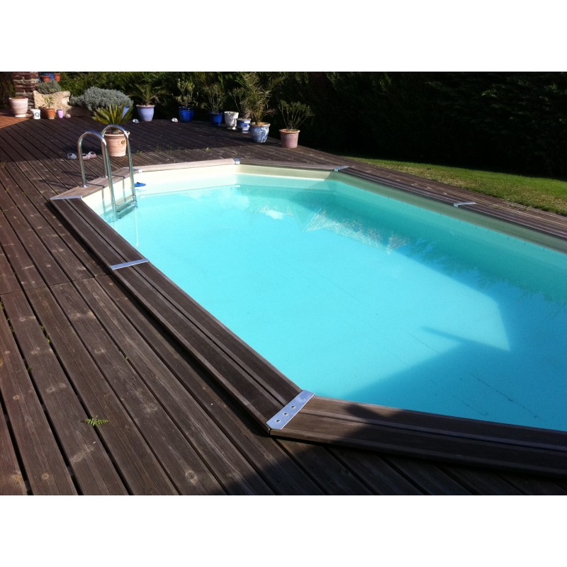 Piscine bois octogonale allong e 400x610cm ocea toute for Piscine cerland