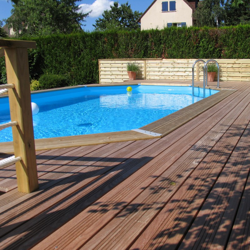 Piscine bois octogonale allong e 400x610cm ocea toute for Piscine ubbink