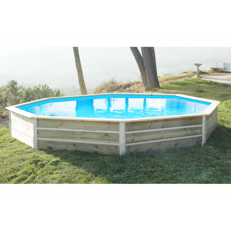 Piscine hors sol en bois octogonale diam 428xh58cm water 39 clip for Piscine hexagonale bois