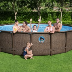 Piscine tubulaire ronde Power Steel Swim Vista 488x122cm avec 4 hublots - Bestway