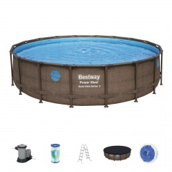 Piscine tubulaire ronde Power Steel Swim Vista 549x122cm avec 4 hublots - Bestway