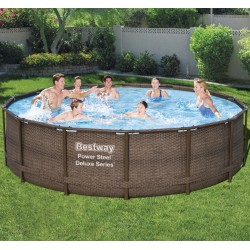 Piscine tubulaire ronde Power Steel Deluxe Series 427x107cm avec filtre à cartouche skimatic - Bestway