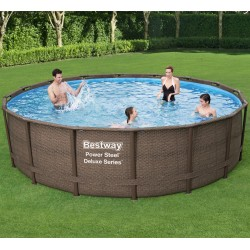 Piscine tubulaire ronde Power Steel Deluxe Series 488x122cm avec filtre à cartouche skimatic - Bestway