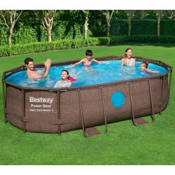 Piscine tubulaire ovale Power Steel Swim Vista 427x250cm avec 2 hublots - Bestway
