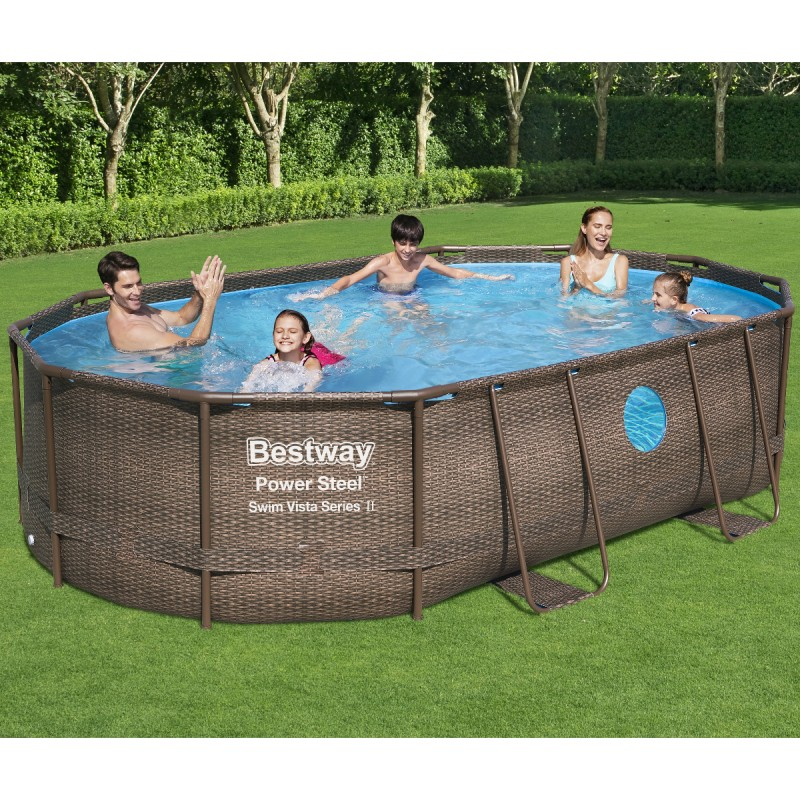 Piscine Power Steel Steel Swim Tubulaire Ovale 488x305cm Bestway