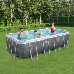 Piscine hors sol rectangulaire Power Steel 488x244x122cm effet rotin gris - Bestway