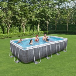 Piscine hors sol rectangulaire Power Steel 549x274x122cm effet rotin gris - Bestway